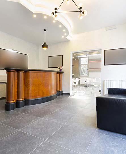 Reception area in an elegant hotel